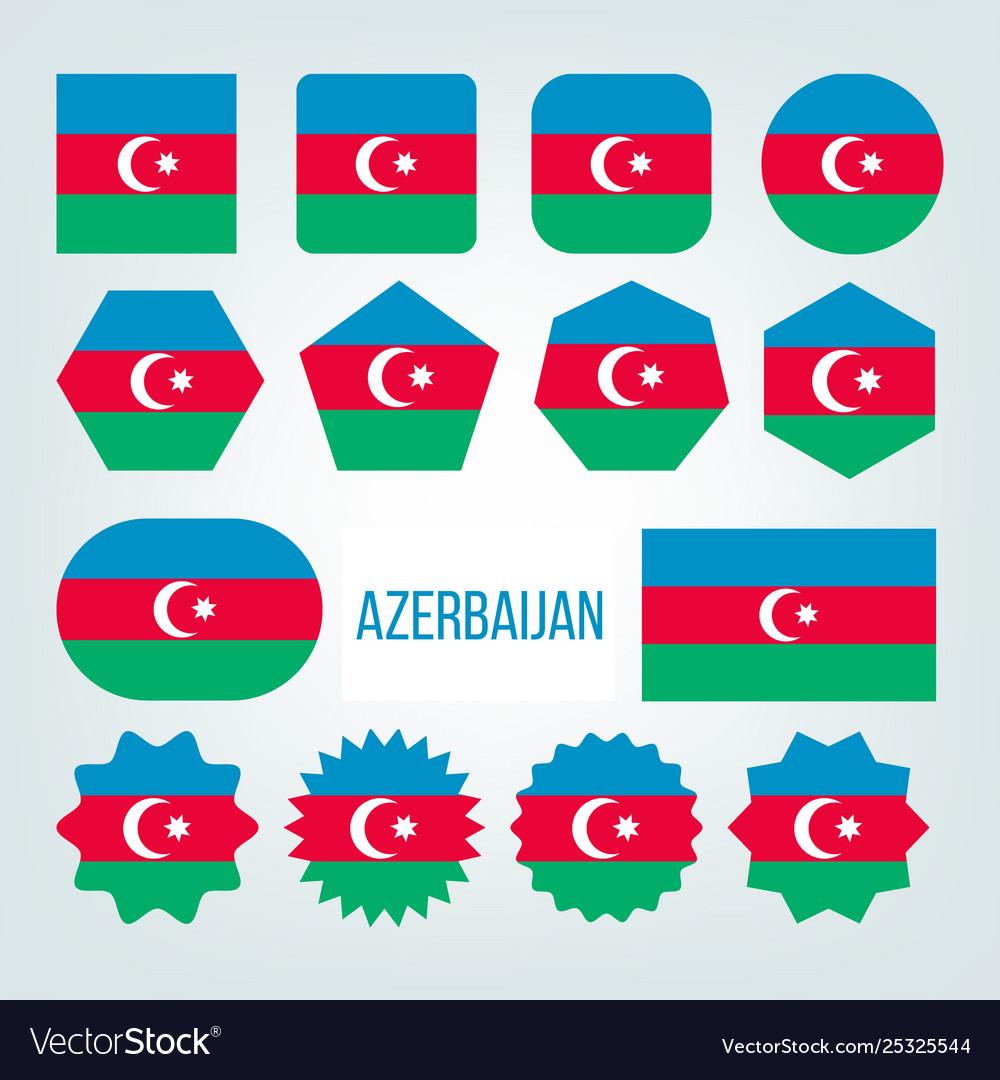 Azerbaijan flag collection figure icons set