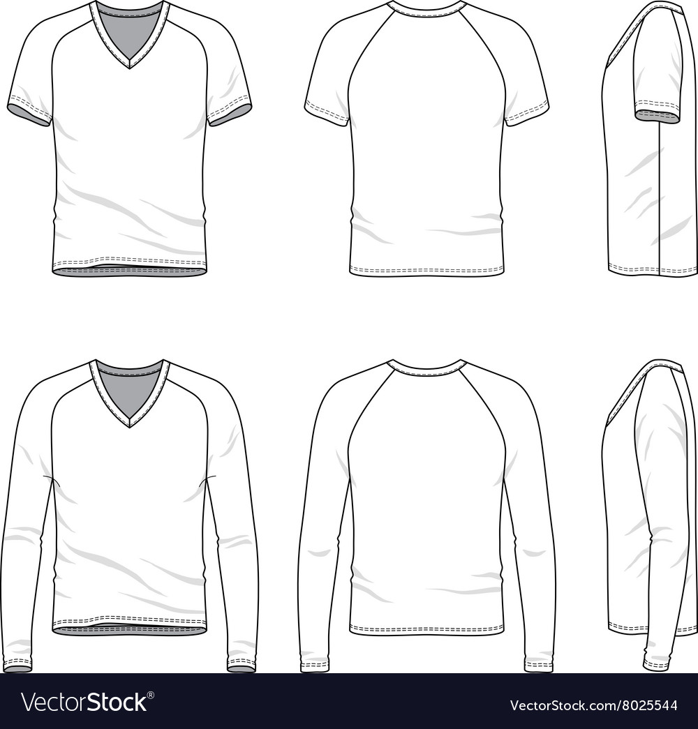 4f172acd85a1 Blank v-neck t-shirt and tee Royalty Free Vector Image