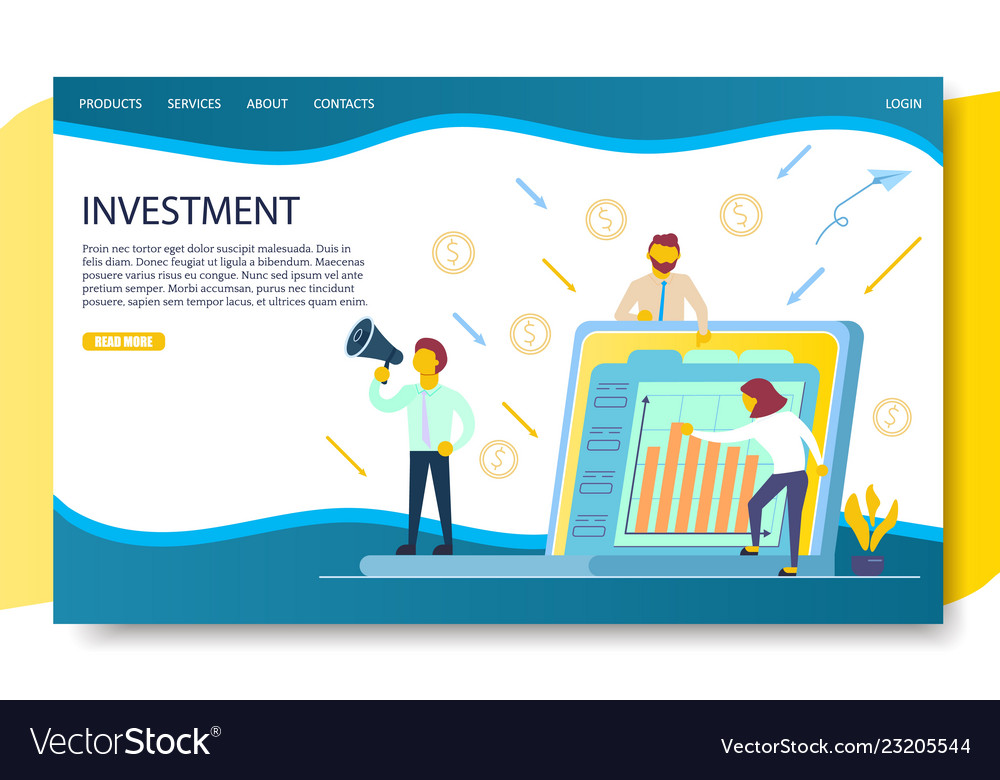 Business investment landing page website
