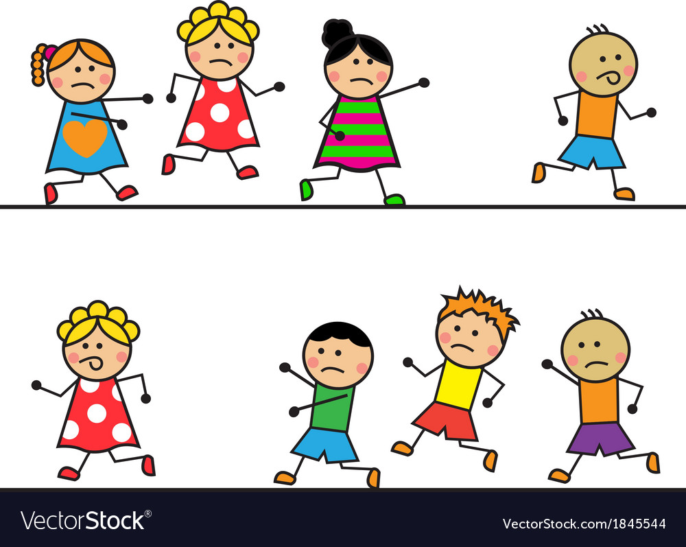 Cartoon people run and catch up with each other vector image