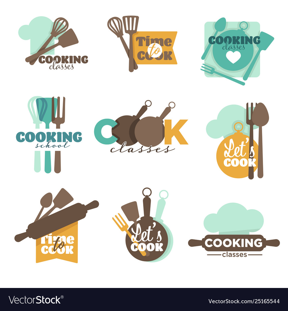Cooking school or classes isolated icons