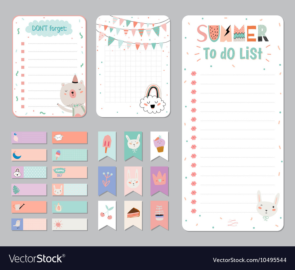 cute calendar daily and weekly planner royalty free vector
