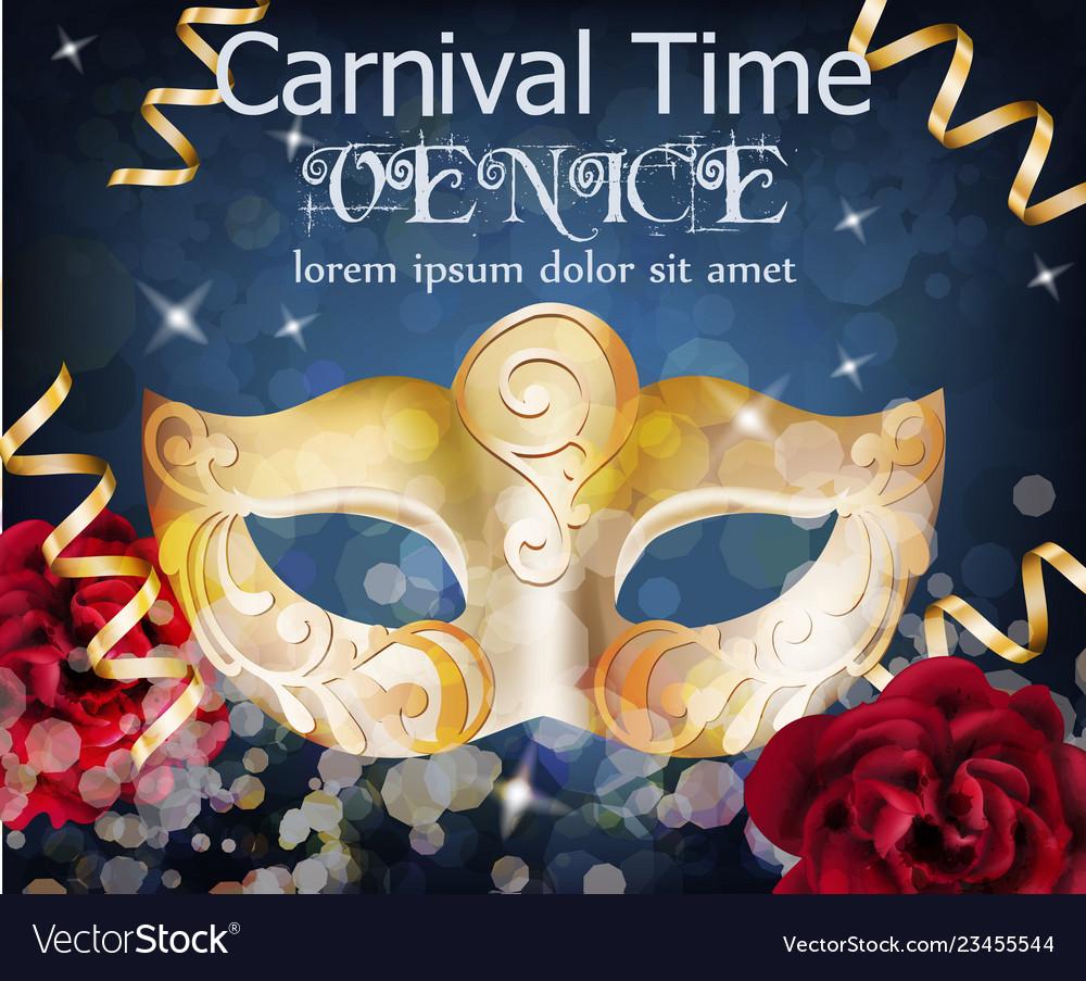 Golden mask carnival card masquerade party