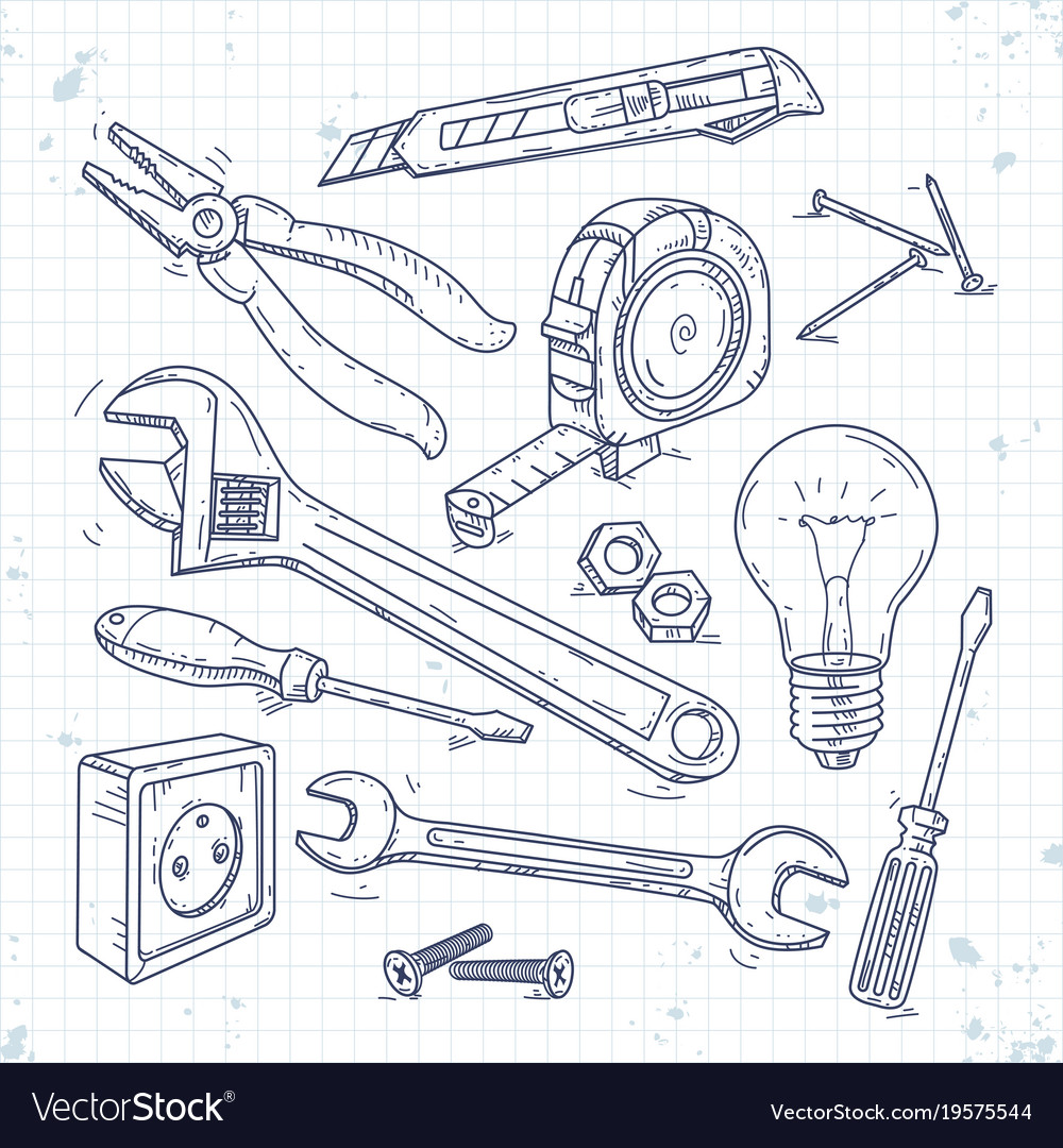 Hand Sketch Icons Set Of Carpentry Tools Pliers Vector Image