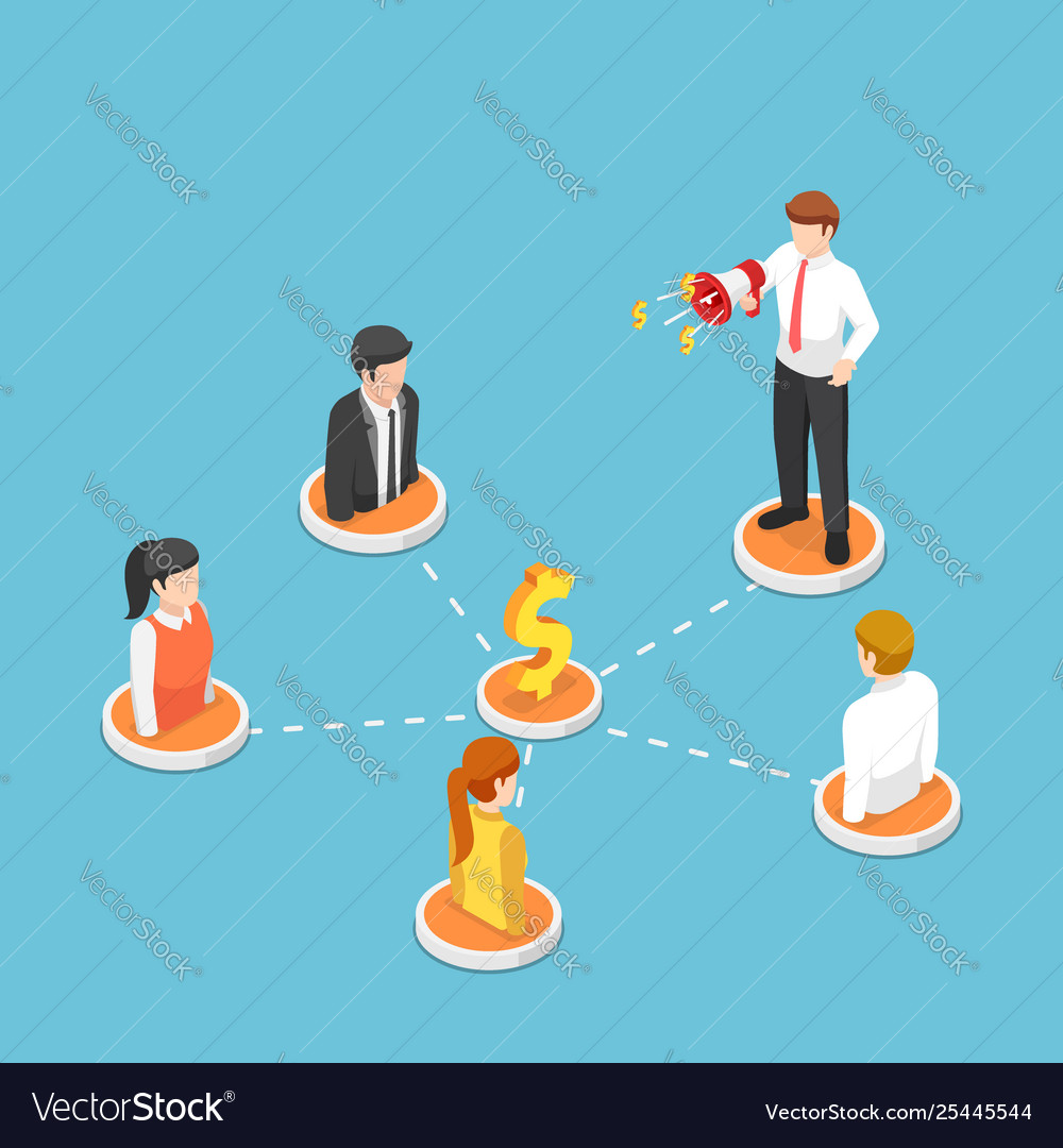 Isometric businessman shout on megaphone with
