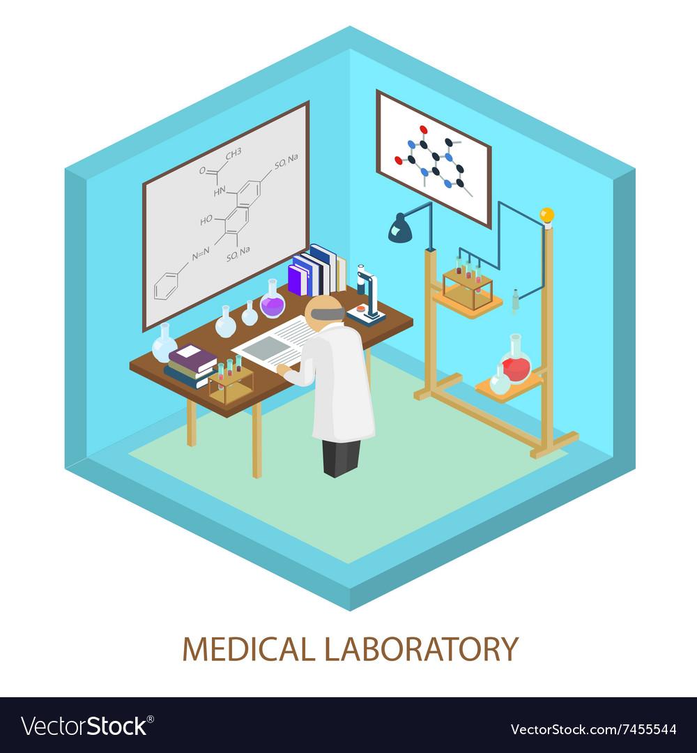 Medical laboratory scientist Isometric flat