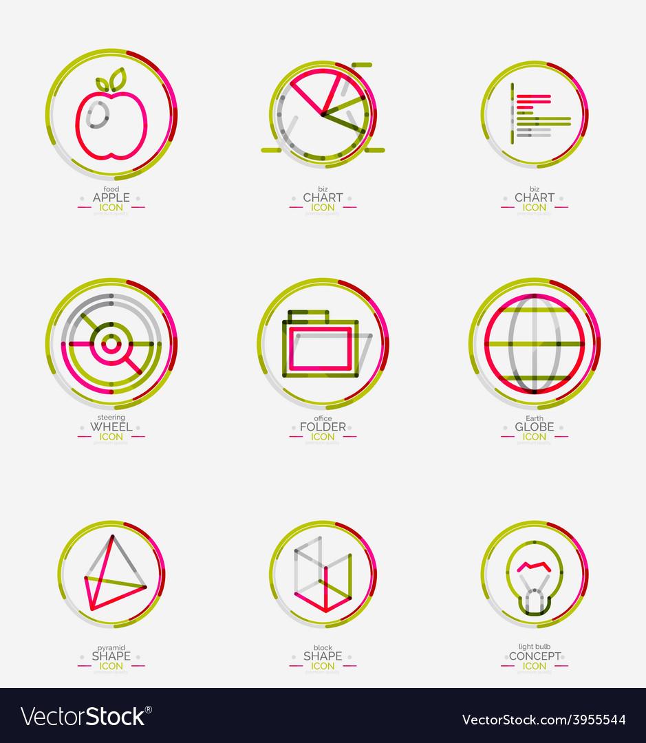 Minimal thin line design web icon set vector image