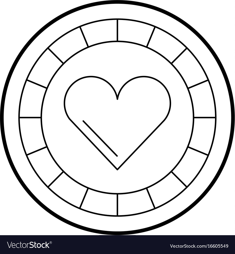 Casino chips with heart
