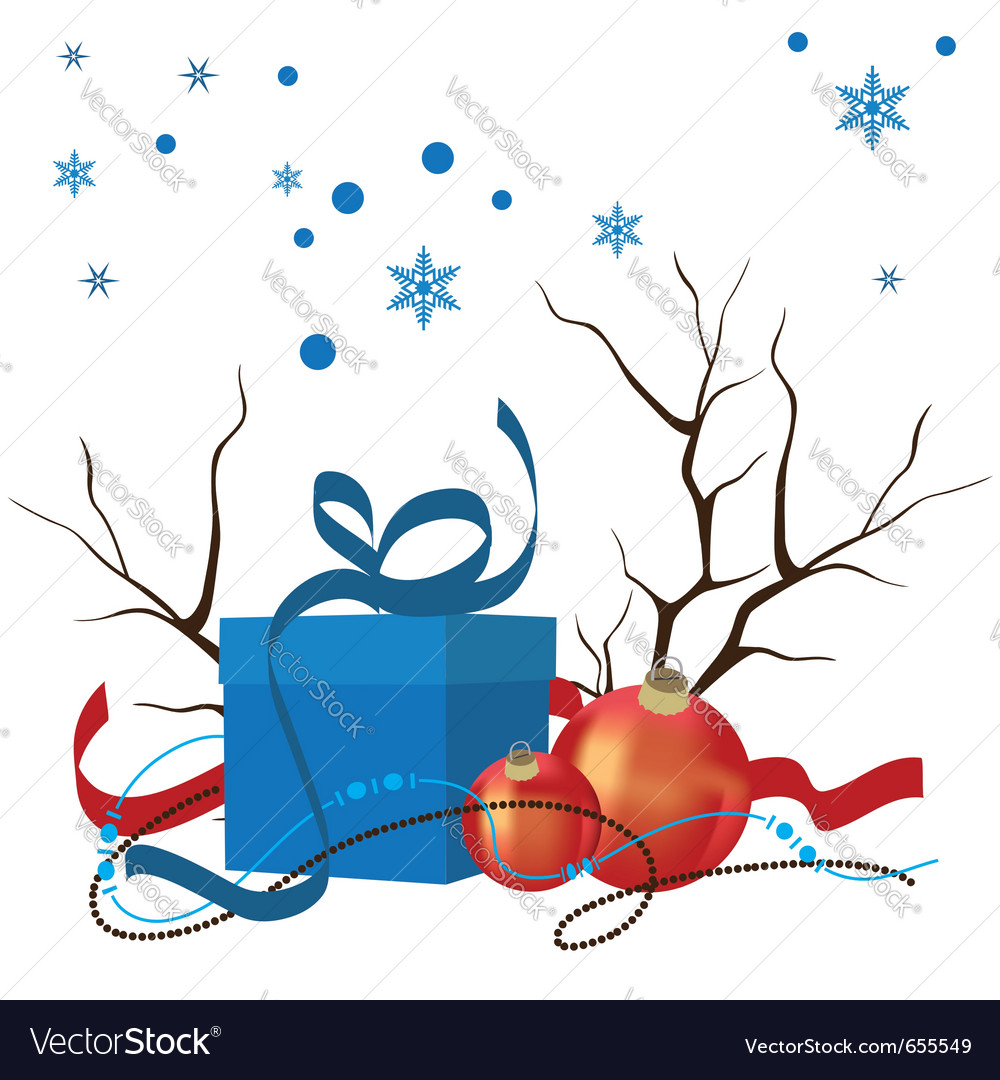 Christmas composition of decorations and gifts