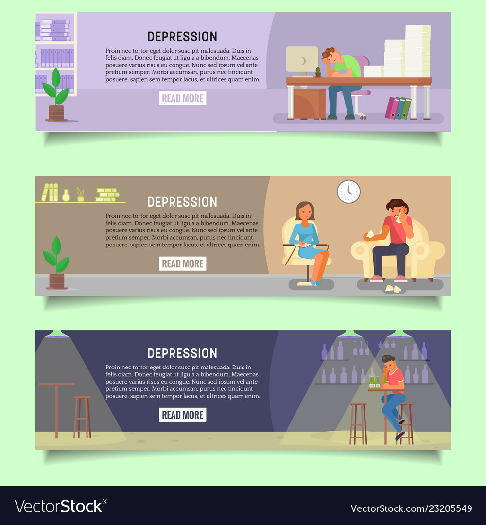 Depressed people web banner template set