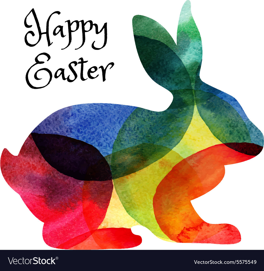 Easter card with watercolor rabbit