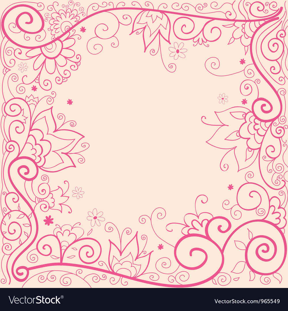Hand drown pink floral pattern vector image