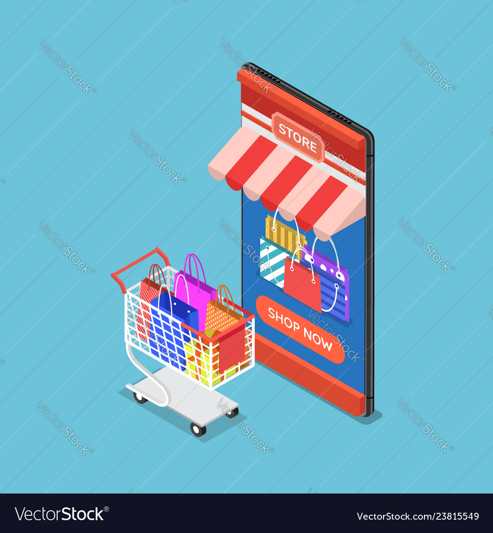 Isometric online store on smartphone with cart