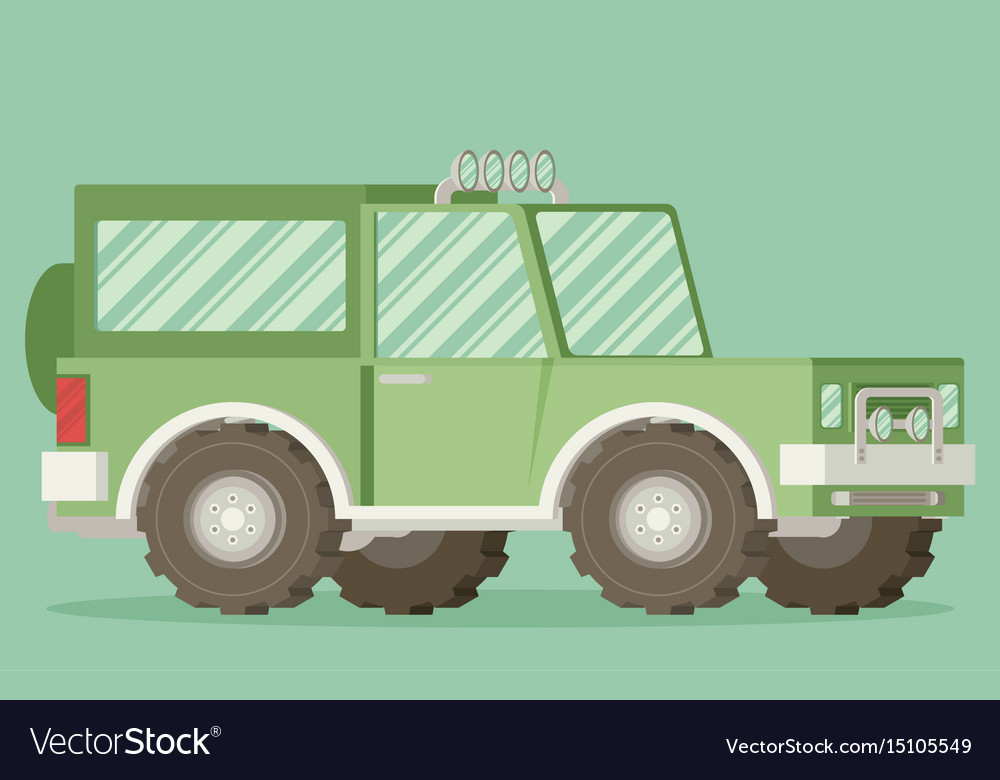Off road car isolated on color background flat
