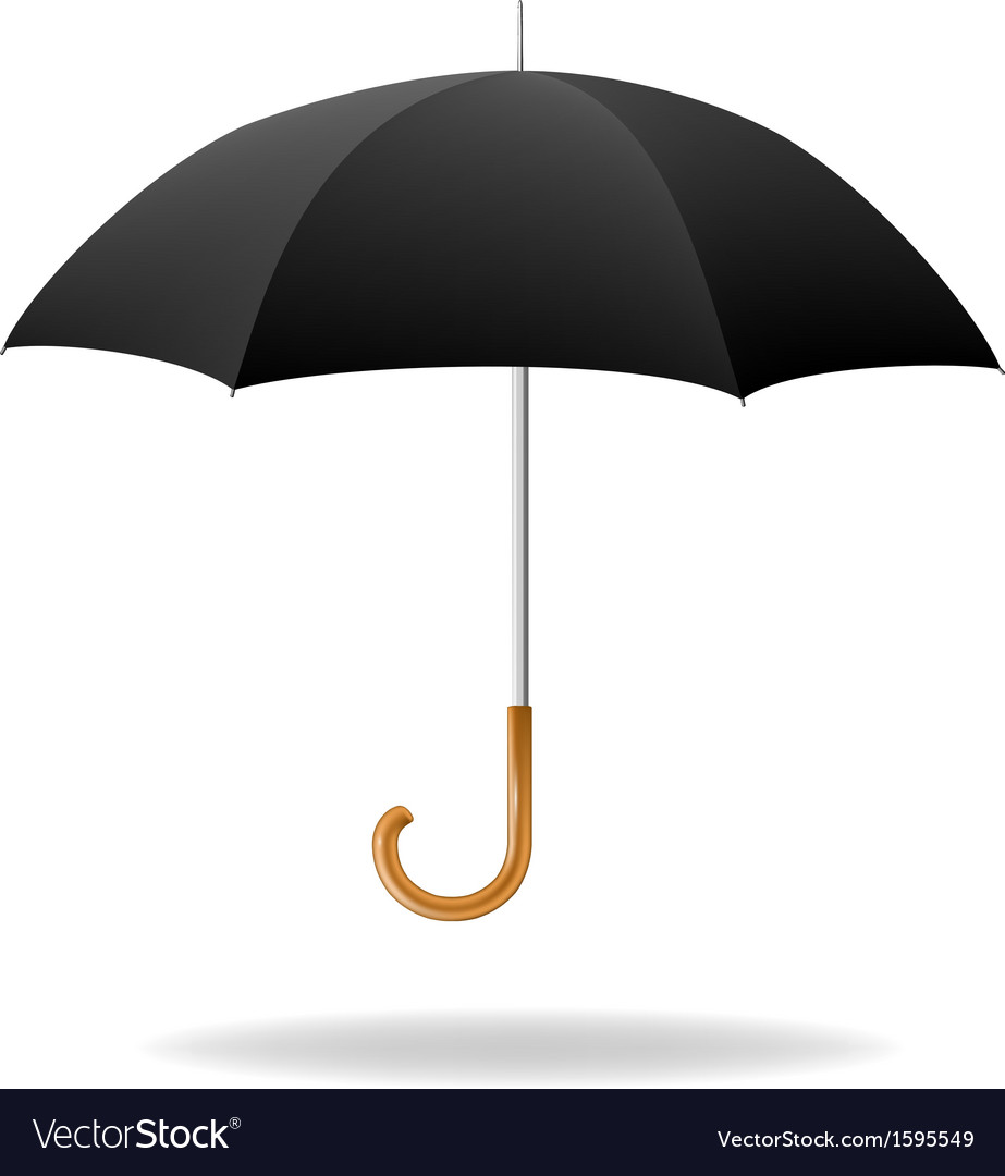 realistic black umbrella royalty free vector image rh vectorstock com umbrella vector png umbrella vector tutorial