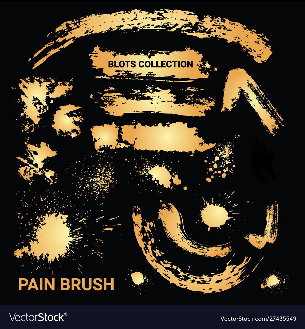 Set rusty paint brush ink blots golden