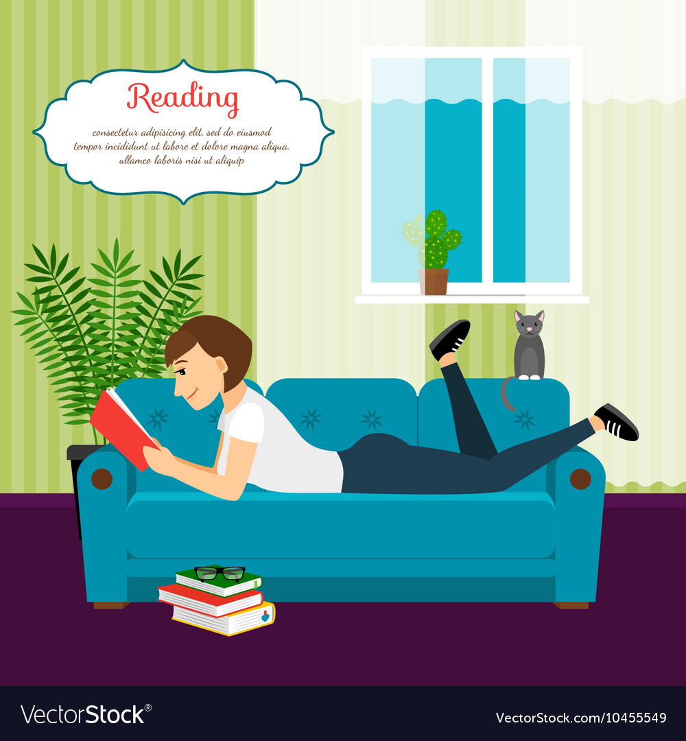 Woman with book on sofa vector image