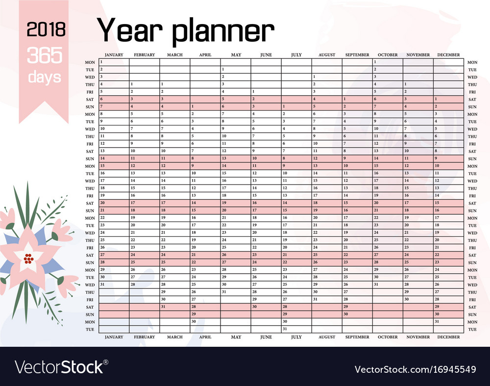 year wall planner 2018 royalty free vector image