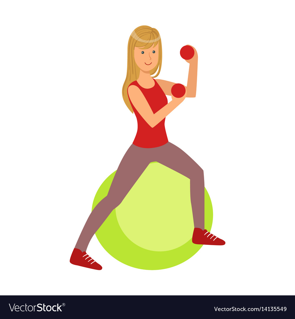 Young blond woman exercising on green fitball
