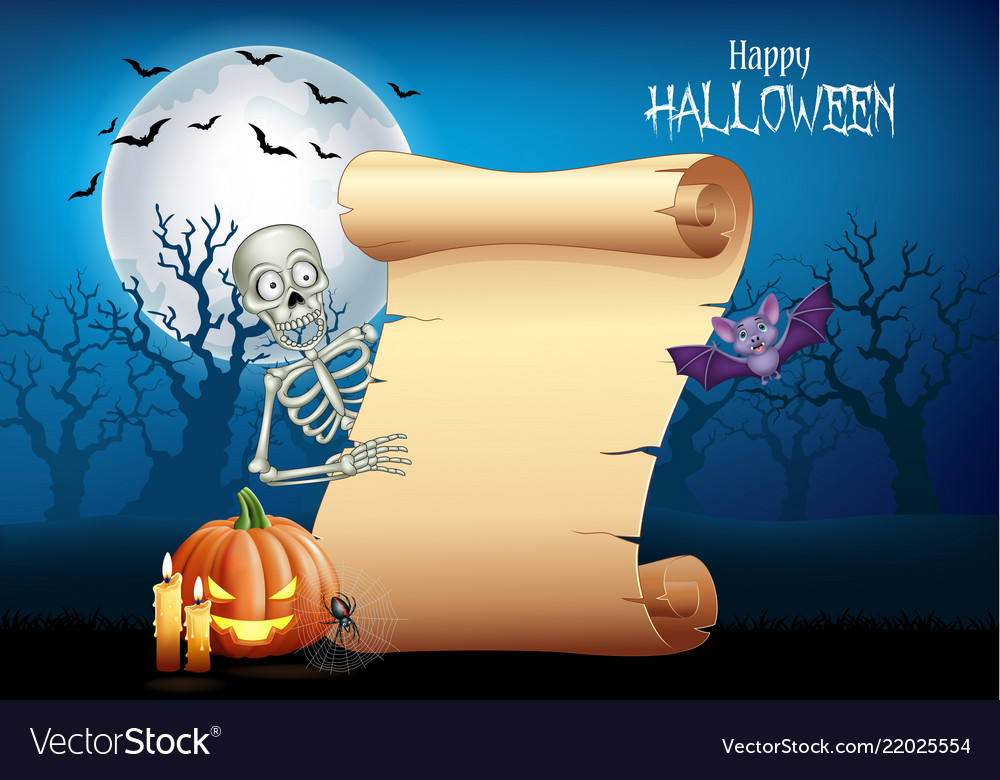 Cartoon skeleton holding scroll banner