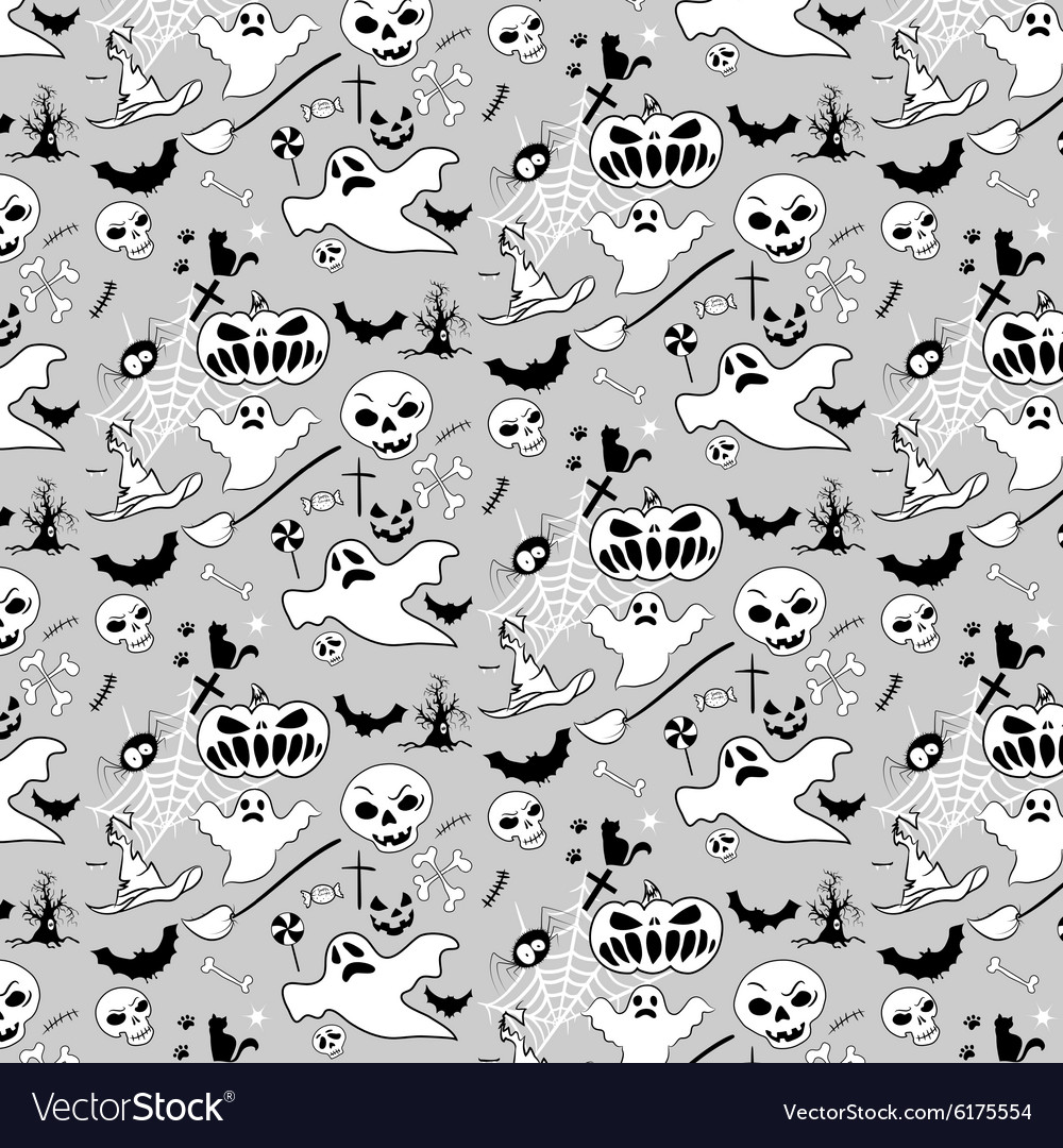 Halloween doodle pattern bw
