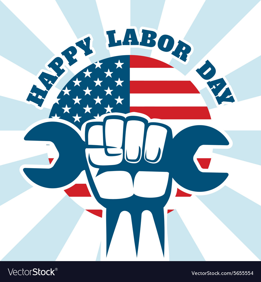 Happy Labor Day and workers right poster