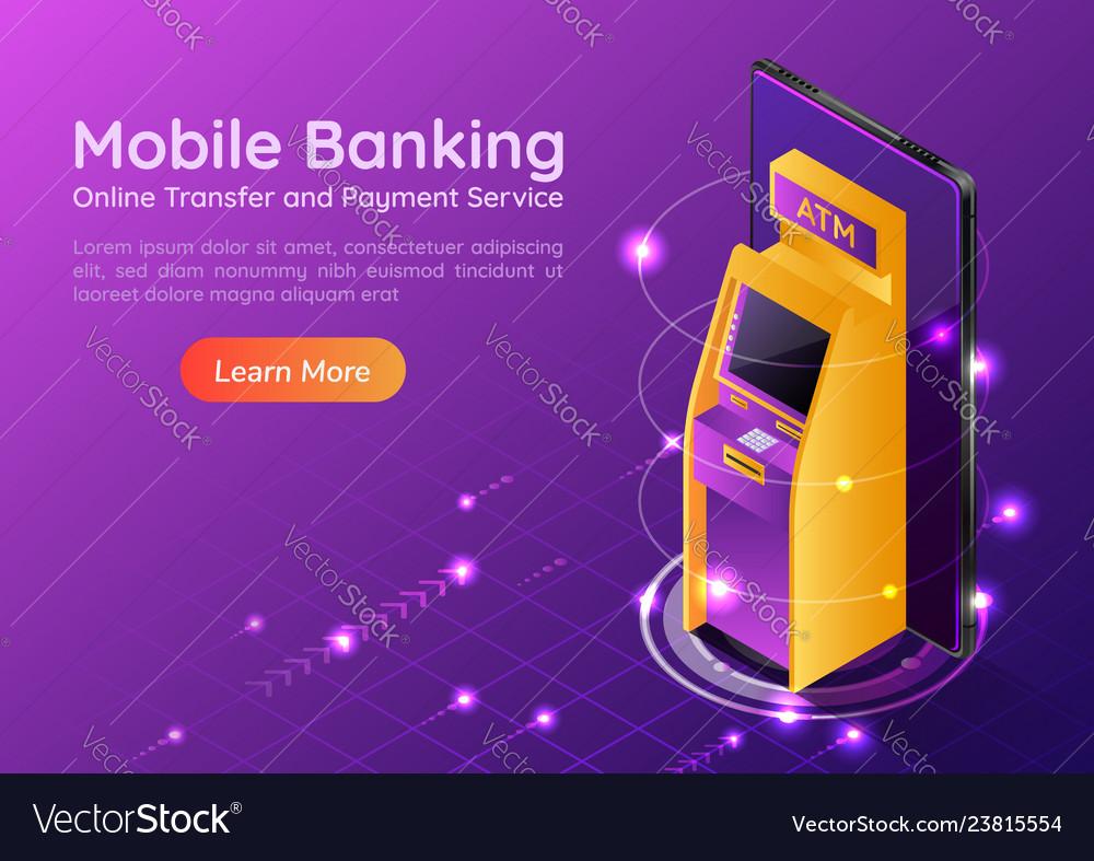 Isometric web banner atm machine on smartphone
