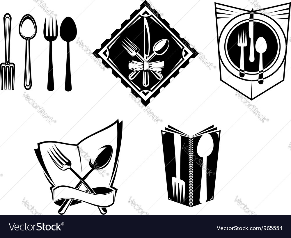 Restaurant menu icons and symbols vector image