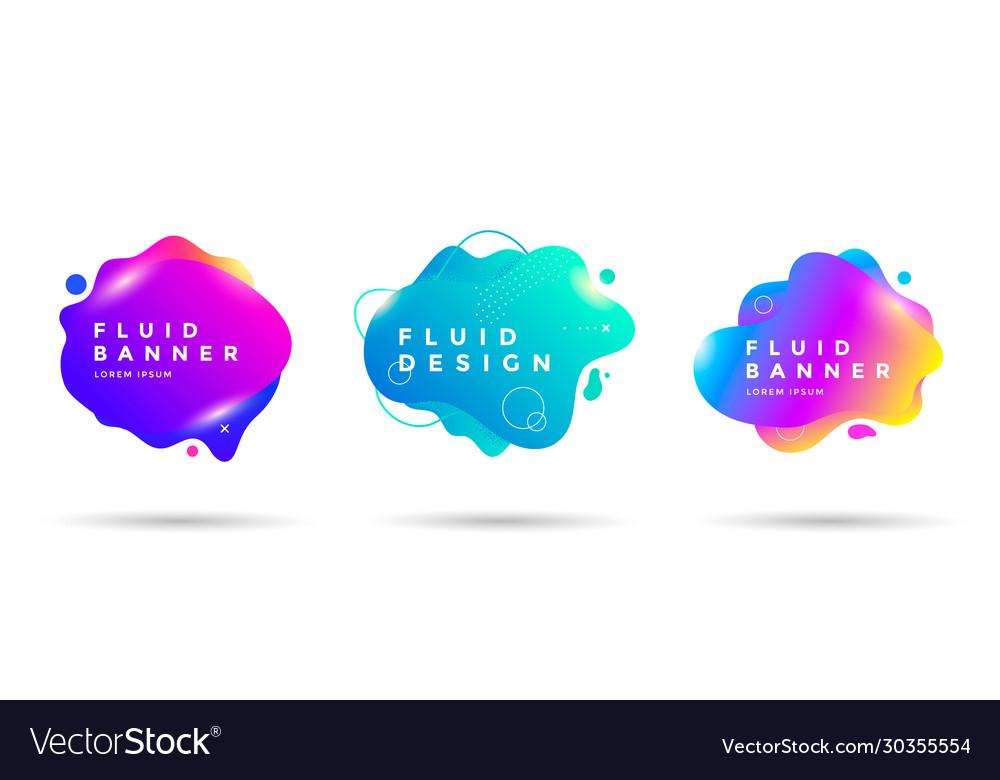 Set abstract liquid shape banner design