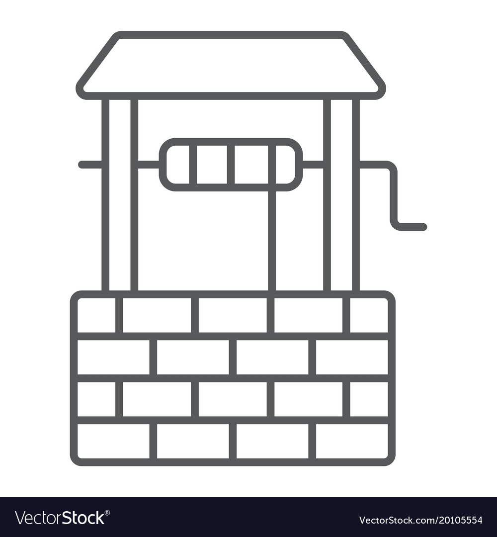 water well thin line icon farming and agriculture vector image rh vectorstock com Agricultural Well Depreciation Old Agricultural Wells