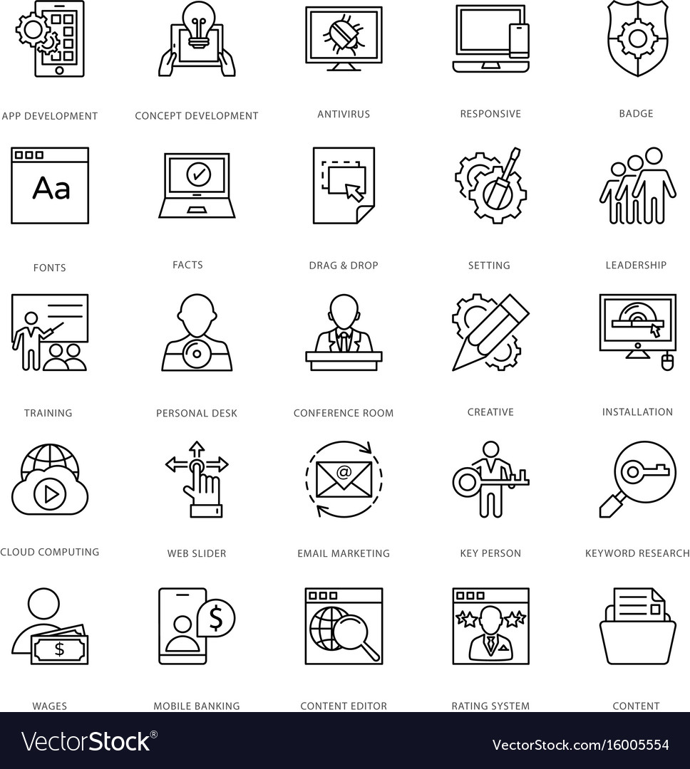 Web design and development icons 12 vector image