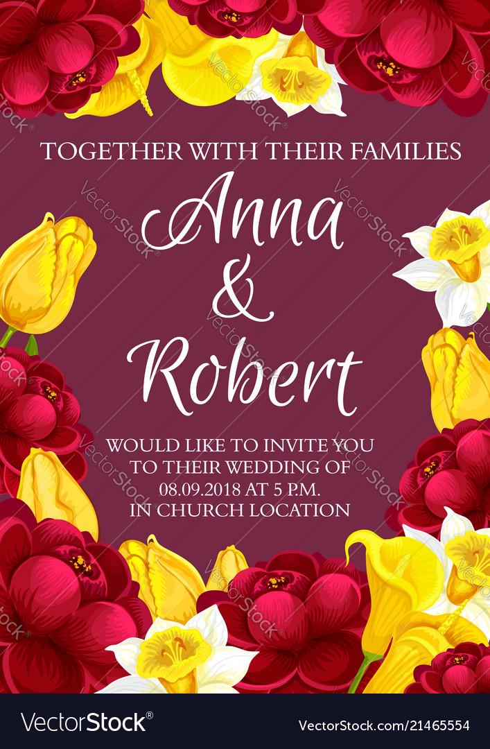 Wedding flowers invitation card