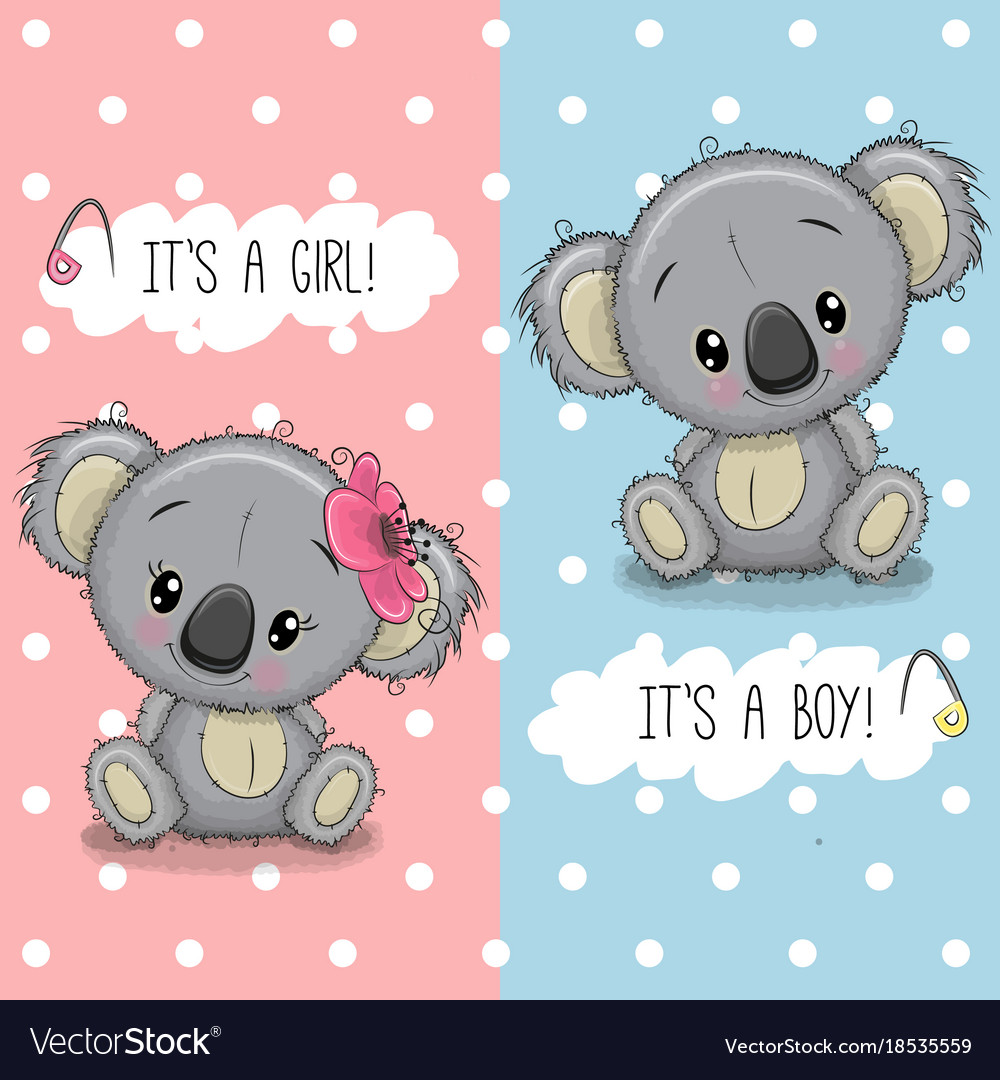 Baby Shower Greeting Card With Koalas Boy And Girl