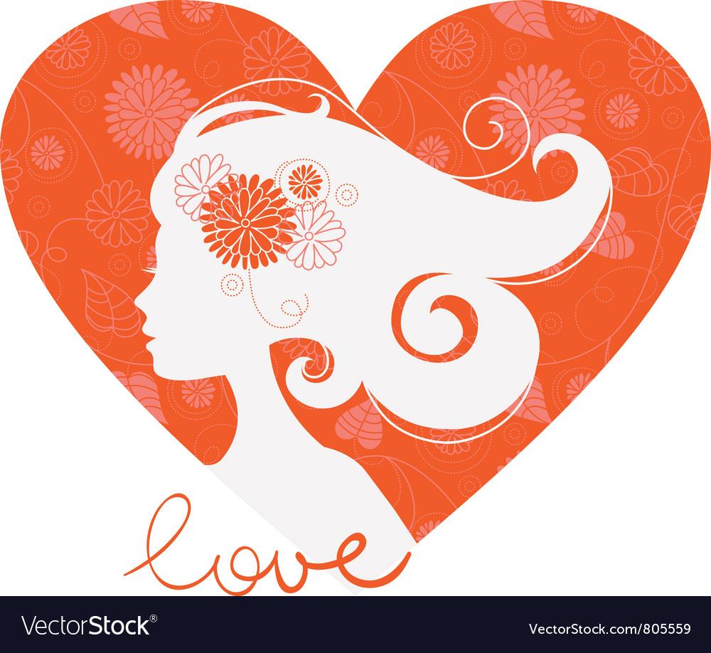 Beautiful girl heart silhouette