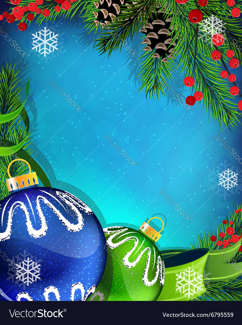 Blue And Green Christmas Ornaments With Ribbon On Vector Image