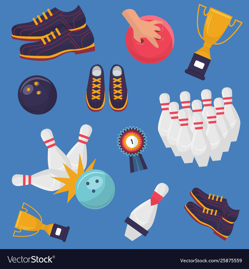 Bowling game pattern on blue background