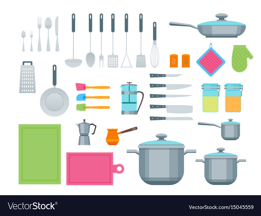 Cartoon cookware color icons set