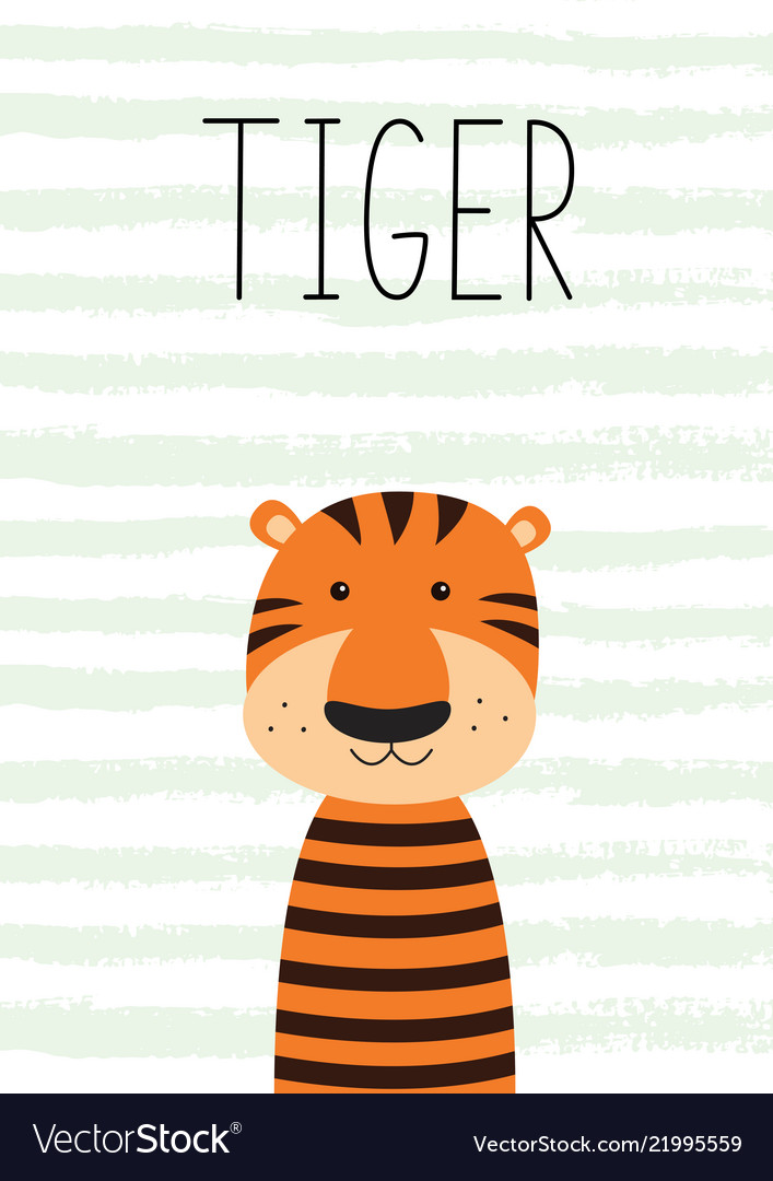 Cute little tiger poster card for kids