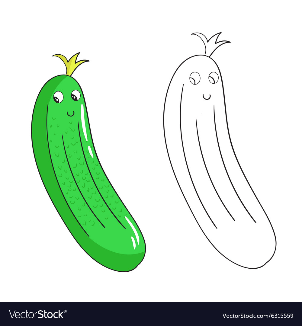 Educational coloring book cucumber Royalty Free Vector Image