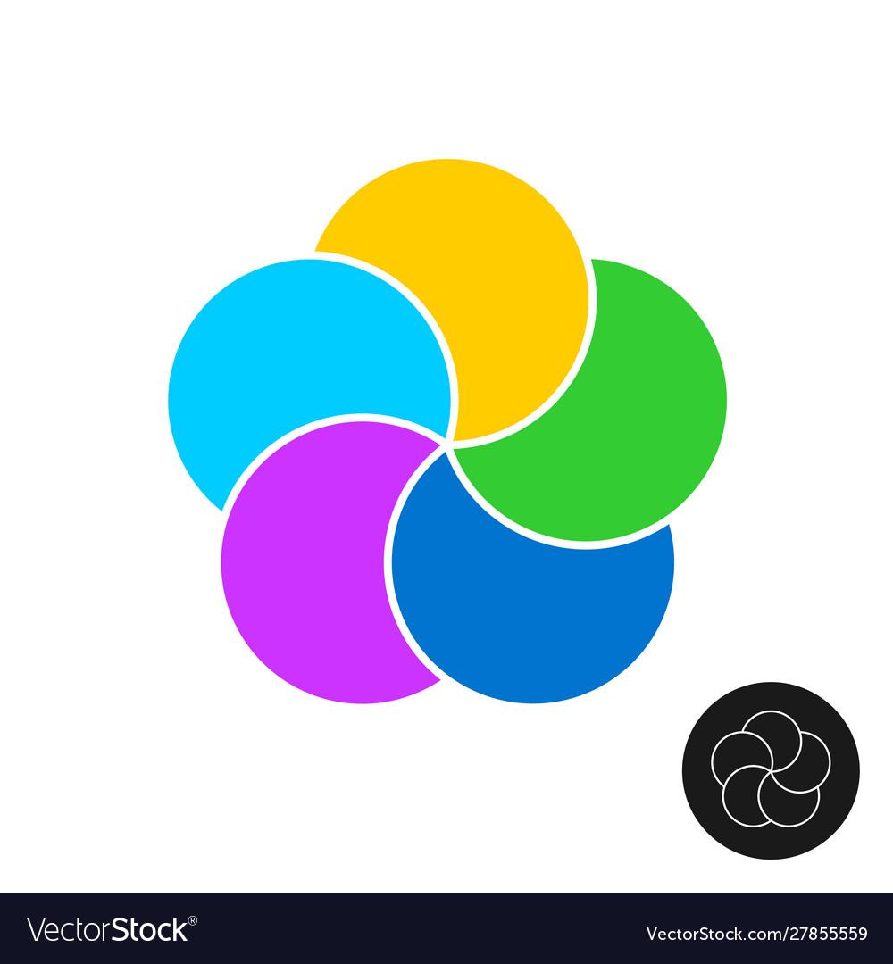 Five color circles infographic elements template