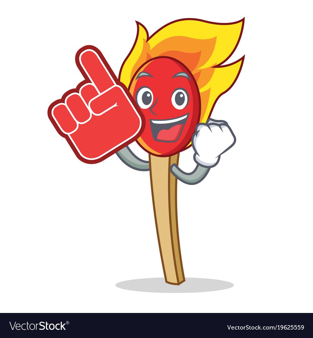 Foam finger match stick mascot cartoon