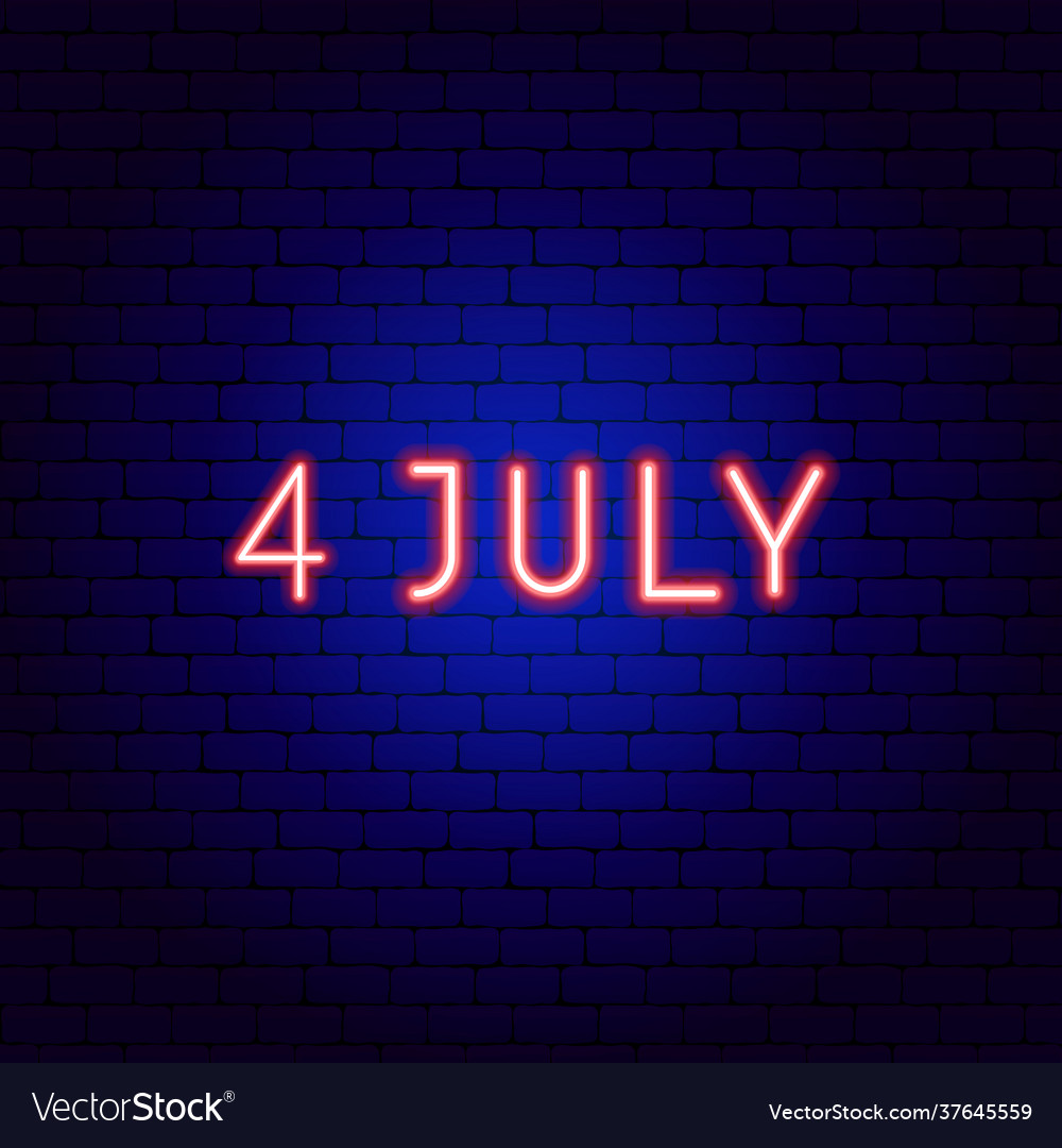 Fourth july neon text