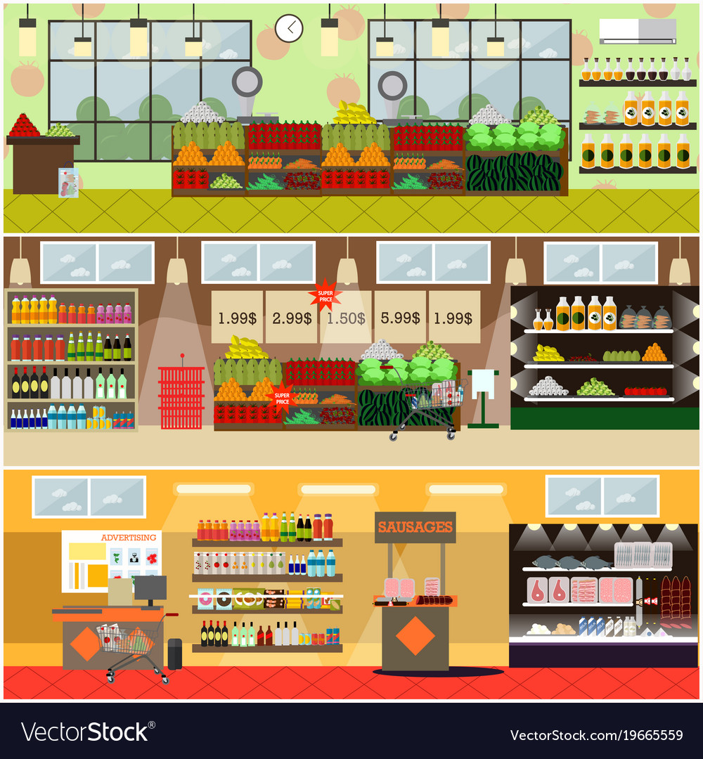 Grocery store or supermarket interior flat