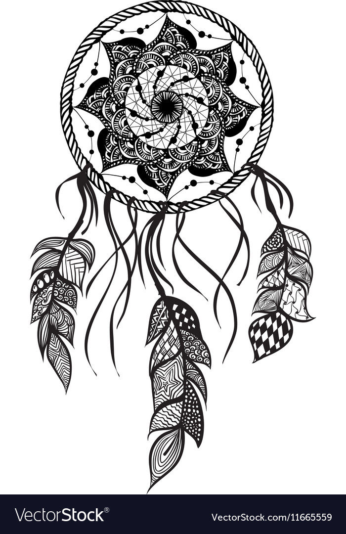 Line Art of a mandala dreamcatcher Royalty Free Vector Image