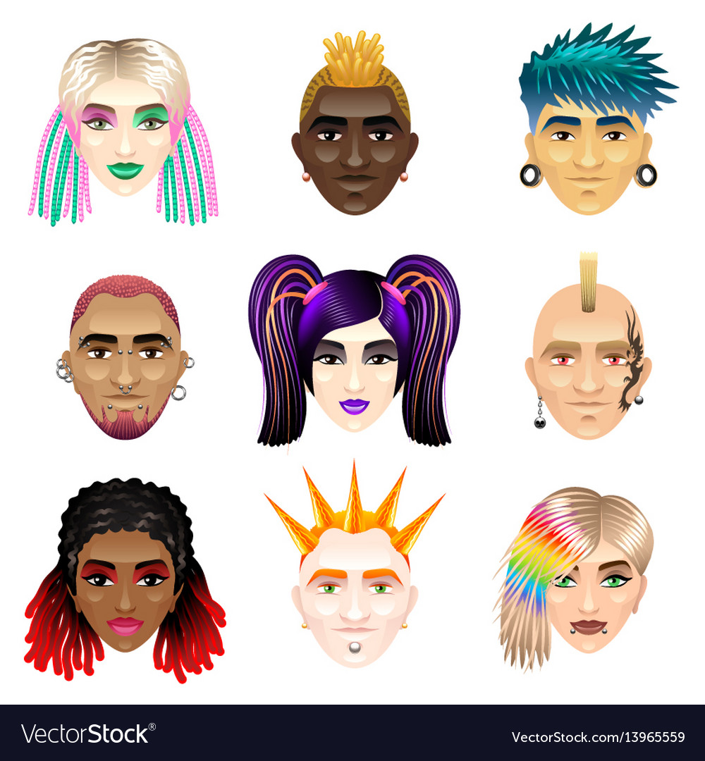 Original youth people faces icons set