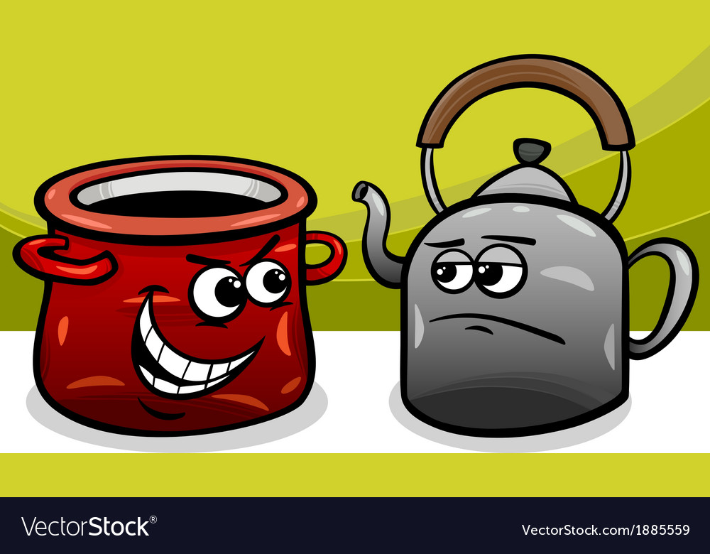 Pot calling the kettle black cartoon vector image
