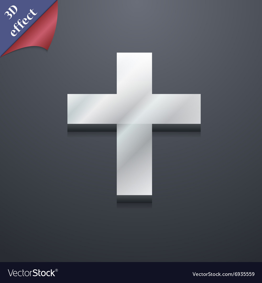 Religious cross Christian icon symbol 3D style vector image