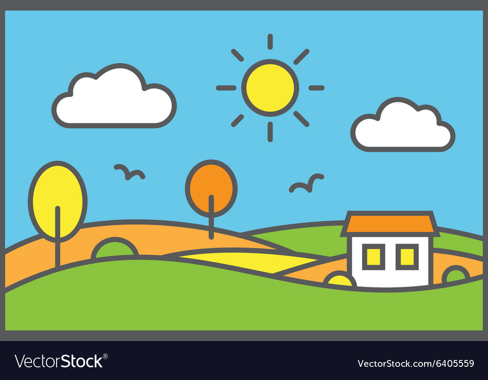 Rural landscape with meadow field and small house vector image