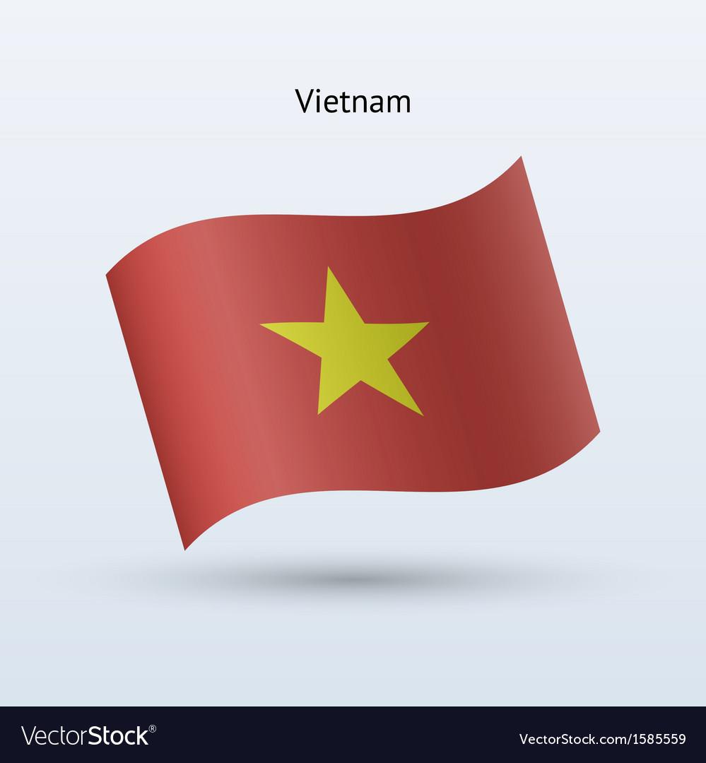 Vietnam Flag Waving Form Royalty Free Vector Image