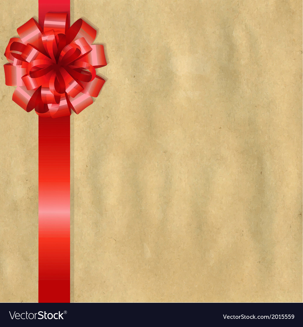 Vintage Paper With Red Bow vector image